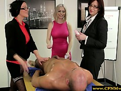 femdom cfnm office babes wanking guy