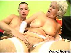 penis blowing granny in lingerie