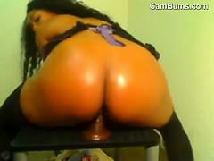 Ebony Chick Riding Her Dildo