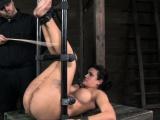 Fetish bondage bounded sub caned