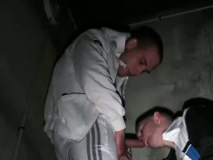 frenchie-bj-in-stairwell