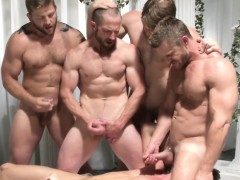 Gay Group Orgy Dudes Jerking Off At Same Time