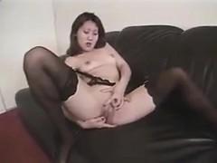 korean slut masturbates and blows on a dick