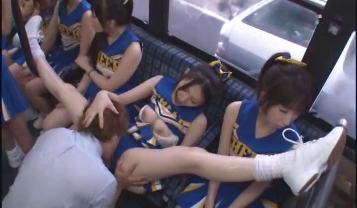 cheerleader upskirt on bus -