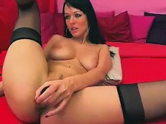 Cute Babe in Stockings Dildos ass and rubs Cunt
