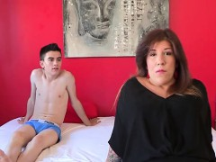 Chubby brunette fucks a slender young boy