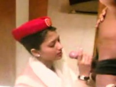 pretty arab stewardess giving a blowjob