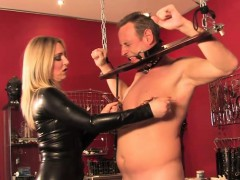 latex-mistress-flogging-a-ball-gagged-sub