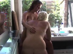 Aussie lesbian amateurs kissing in bathroom
