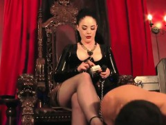Dominating mistress trampling sub in heels