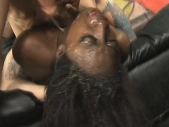 Black Ghetto Slut Getting Her Mouth Punished With White Dick