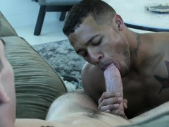 Guy Fucks His Roommate And Worships His Huge Black Cock