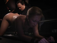 Dominator ties blonde in doggie and drill her holes