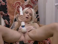 sexy blonde with huge vagina lips masturbates to orgasm