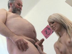 Young Sweetheart Gets Brave To Suck Old Cock Of A Nasty Guy