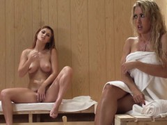 big titted redhead lezdom facesitting in the sauna