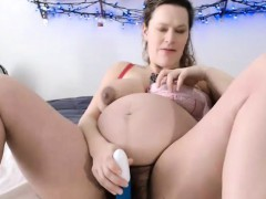 busty-pregnant-hottie-toying-hairy-pussy