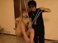 hanging on a swing asian babe gets waxed sexy