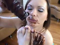 Two Bimbos Cover Their Pussies In Chocolate