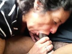 grandma-eating-a-lenghty-black-meatstick