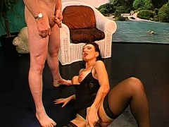 busty darling gets muff and face pissing from two studs