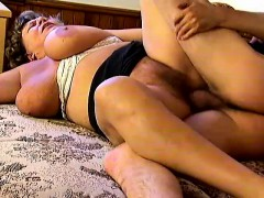 Huge Breasted Granny Naomi Loves To Work Her Hairy Slit On A Hard Cock