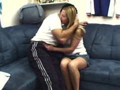pretty blonde stepmom couch banged by young stud