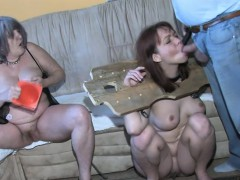 granny gives a blowjob to a stud