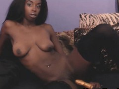 African Beauty Fucks Pussy And Butthole With Dildos