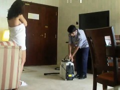 half naked arab woman wife teases another hotel worker