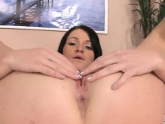 Cute kitten is gaping yummy hole in closeup and climaxing