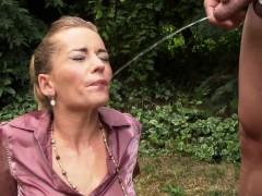 sperm faced slut pissing