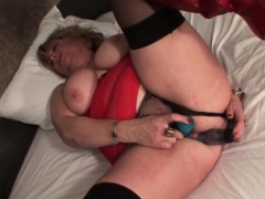 Kinky mature dildoing both cunt and butt hole