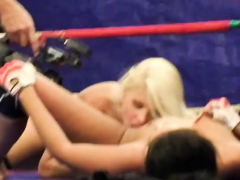 lesbian babe fingered after wrestling