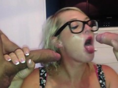 Huge titties girl managing two cocks in her mouth