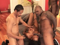 Hot gangbang action with an ebony stunner