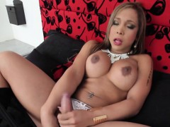 Horny Shemale Jerks Her Cock
