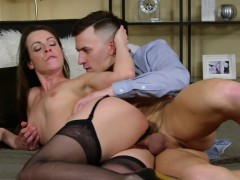 MOM Brunette MILF trades sloppy blowjob for creampie