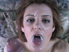 wife sucks 10 inch monster white dick facial cumshot