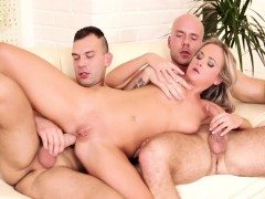 Vinna Getting Her Wet Pussy Cooked As The Bi Dudes Fuck Her