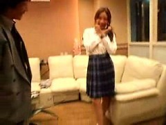 dazzling japanese woman with sweet long legs has fun with a h