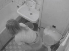While Fucking Himself Within The Toilet A Woman Moans Extre
