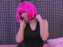 Neon Pink-haired Beauty Rubs Her Wet Pussy