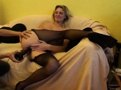 blonde milf in sexy stockings fingered and penetrated