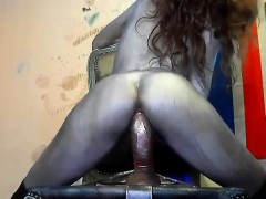 painted-girl-trying-anal-on-her-chair