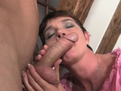 Mother in law swallows his horny cock