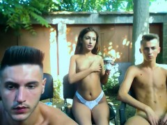 amateur-girlfriend-outdoor-threesome-with-facial