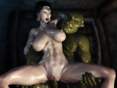 3d hentai two orcs find some sweet milf and get her creampied