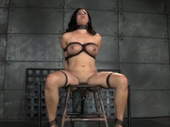 big titted restrained slave caned while twat toyed
