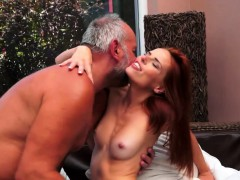 Redhead Eurobabe Gets Fucked Deeply By Oldman